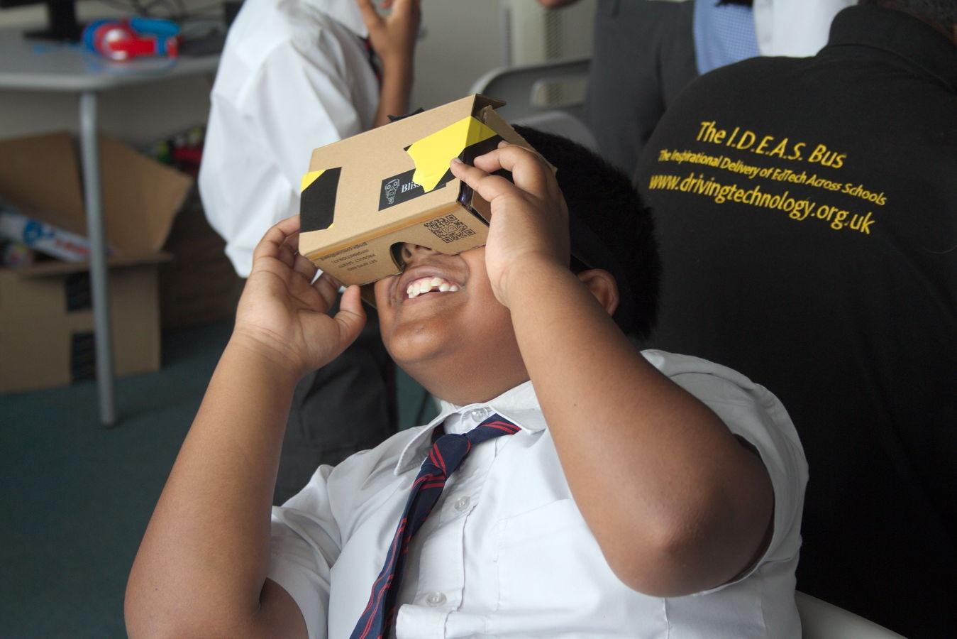 Child using VR headset